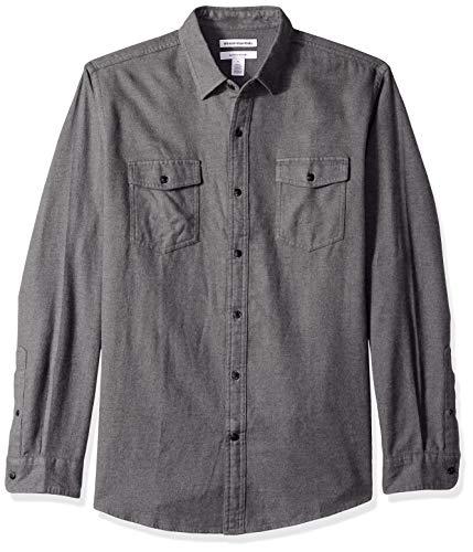 Amazon Essentials Regular-Fit Long-Sleeve Solid Flannel Shirt Button-Down-Shirts, Antracite Melange, US XXL (EU XXXL-4XL)