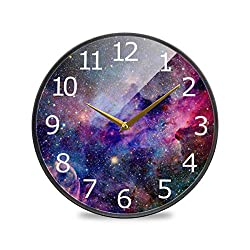 ALAZA Galaxy Nebula Sky Acrylic Painted Silent Non-Ticking Round Wall Clock, 9.5 Inch Battery Operated Quiet Desk Clock Home Art Bedroom Living Dorm Room Office School