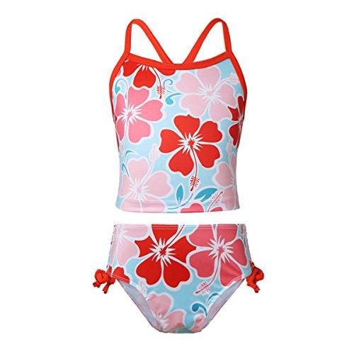 iiniim Bañador para Niñas Tankini Estampado Flores Traje de Baño de Dos Piezas Conjunto de Bikini Top Braguitas Ropa de Baño Natación Vacaciones Verano 3-14 Años Rojo 8Años