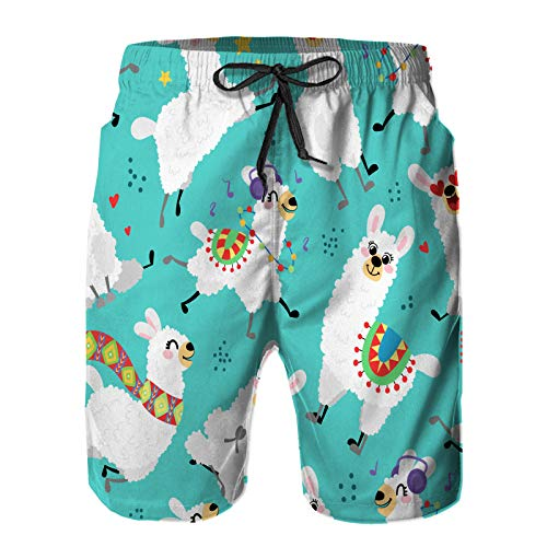 HLSCYZ Men's Quick Dry Drawstring Waist Beach Shorts,Seamless Pattern Cartoon Llamas Alpaca Vector,Summer Surf Long Swim Trunks Board Shorts S
