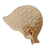 ZLYC Women Winter Crochet Bucket Hat Handmade Cotton Knit Cloche Bowler Hats (Bow Khaki)