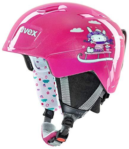 Uvex Kinder Manic Skihelm, pink Snow Bunny, 51-55 cm