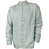 Civilian Irish Grandfather Collarless Shirt White with Green Stripes (M)