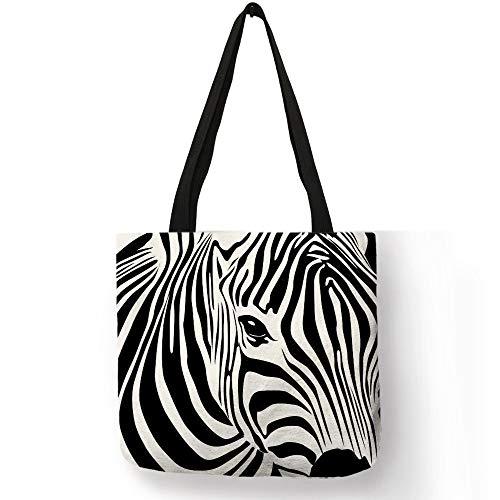 LINADEBAO Schultertasche mit Tiermuster für Mädchen und Damen, Zebra-Silhouette, gestreift, gepunktet, Handtasche, Einkaufstasche, Reise, Strand, leger, 002