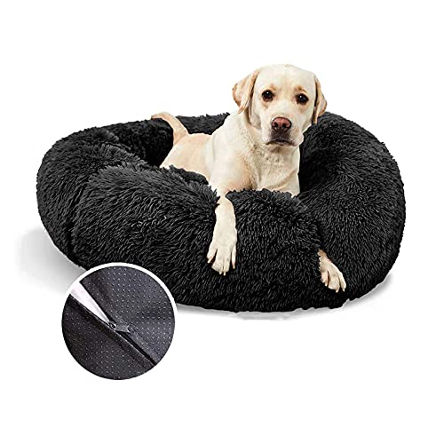 WOERD Cama para Mascotas Deluxe Plush, Donut Cama de Felpa para Perros, Portátil Cómoda y Lavable Redonda Cama con Forma de Dona Cueva para Gatos y Perros Pequeños y Medianos