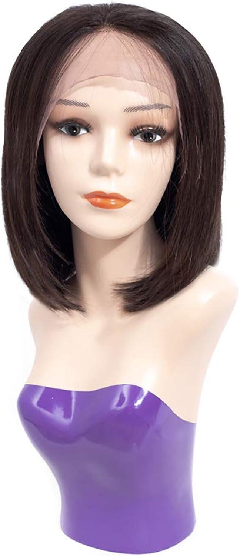 FELICIAGG Schwarze Kurze Bob-volle Spitze-Reale natürliche Haar-Perücken mit mittlerer Pony-synthetische Cosplay tgliche Partei-Perücke für Frauen HitzeBestendige Haar-Perücke mit dem realen Haar