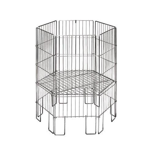 ShopDirect 6-Eck-Wühlkorb Wühltisch Verkaufskorb, B57 x H80 cm, verzinkt, zusammenklappbar, Boden verstellbar