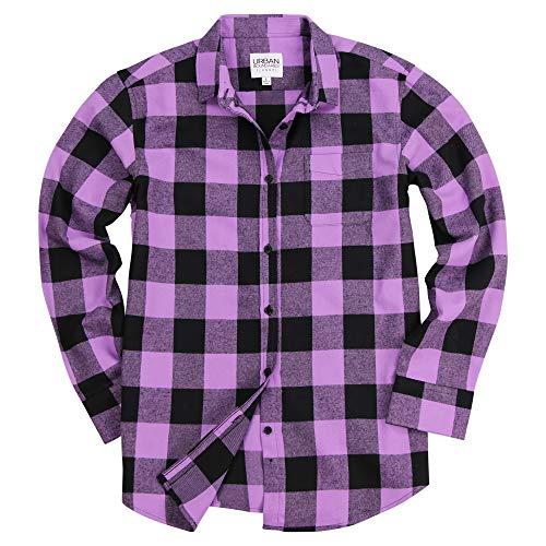 Urban Boundaries Women's Long Sleeve Flannel Shirt w/Point Collar (Purple/Black, Medium)