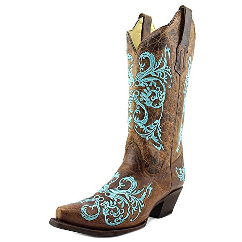 Corral Women's R1193 Dahlia Embroidery Brown Western Cowboy Boots