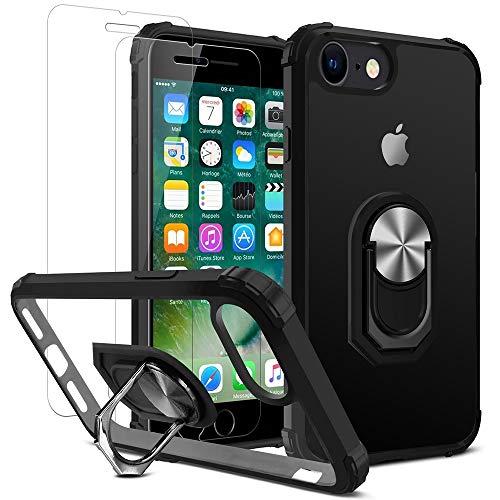 DOSMUNG 1 Custodia+2 Vetro Temperato per iPhone SE 2020/8/7, Cover è 360°Rotante Anello Magnetica Supporto+Duro Pannello Posteriore PC+TPU Antiurto Bumper,9H Durezza/Ultra HD Pellicola Protettiva
