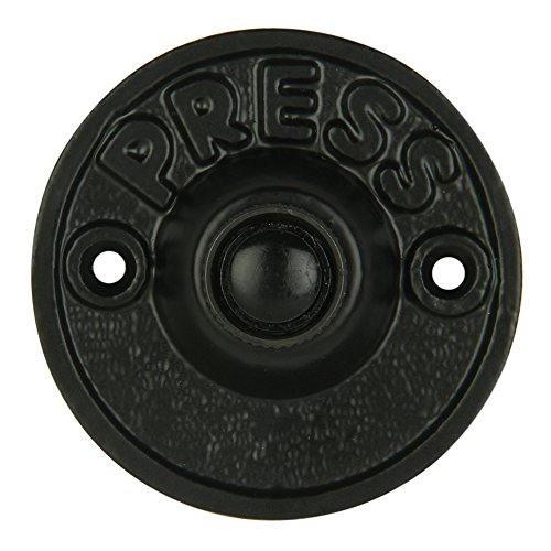 Wired Iron Circular Doorbell Chime Push Button in Black Powder Coat Finish Vintage Decorative Door Bell with Easy Installation, 2 5/8' Diameter