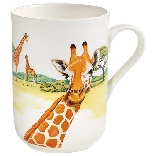 Maxwell & Williams Animals of The World Giraffe, Geschenkbox, Porzellan, PBA0003 Becher, weiß, bunt, 10.5 x 7.5 x 10.5 cm