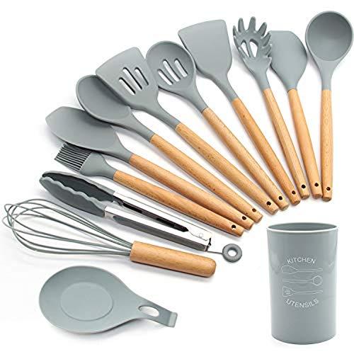 LCZ Silikon-Küchenutensilien Set, 13 Stück Holz Griffe Spatel Set, Kochgeräte Für Non Stick Pfannen, Silikon Spachtel Für Küche Kochend