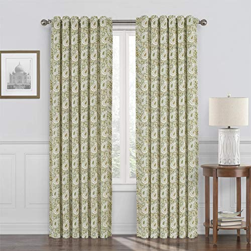 "WAVERLY Paisley Verveine Rod Pocket Single Panel Privacy Window Treatment Living Room, 52"" x 84"", Spring"