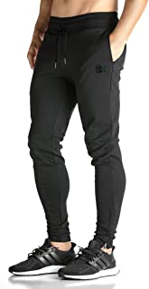EK BROKIG Mens Zip Joggers Pants - Casual Gym Workout Track Pants Comfortable Slim Fit Tapered Sweatpants with Pockets