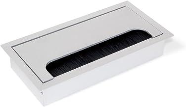 Emuca - Kabeldoorvoer tafel, rechthoekig, 160 x 80 mm, om in meubilair in te bouwen, Aluminium, Mat geanodiseerd