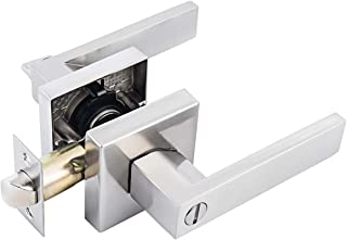 MAXECURITY Privacy Square Door Lever/Door Handle Bed or Bath Lever in Satin Nickel Finish,Adjustable Latch Backset fits Either 2-3/8 inch or 2-3/4 inch