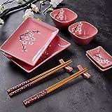 Panbado Porzellan Japanisch Sushi 10-teilig Set, Rechteckig Sushi Teller mit Reisschalen, Dipschälchen, Bambus Essstäbchen und Essstäbchen Ablage für 2 Personen, Sakura Muster, Rosa - 4