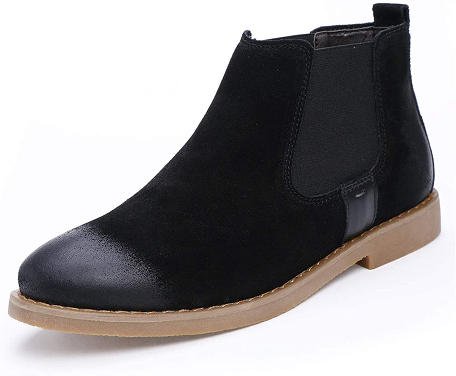 Easy Go Shopping Chelsea Boot For Man Ankle Boot Slip On OX Suede Leather Simple Pure color Cricket shoes (color   Black, Size   5.5 UK)