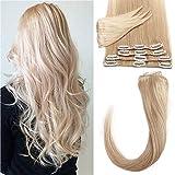 Silk-co Extension de Cheveux A Clip Eaisseur Mince 8 Mèches Rajout Cheveux Lisse Raide Lustrés 100% Clip In Hair Extension Human Hair Invisible (20 Pouces,#24 Blond Naturel)