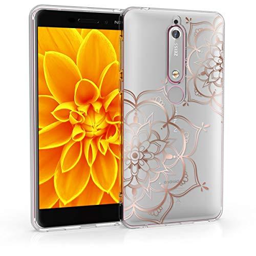 kwmobile Nokia 6.1 (2018) Hülle - Handyhülle für Nokia 6.1 (2018) - Handy Case in Blumen Zwillinge Design Rosegold Transparent