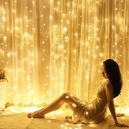 CJKBD lichterketten sternen schlafzimmer vorhang licht wasserfall licht eis licht 3 Mt * 1 Mt weiß 144 lichter (fernbedienung)