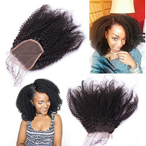 Afro Kinky Curly Lace Closure Human Hair 4 X4 Size Free Part Top Full Frontal Closure Piece With Baby Hair Remy Hair Extension 12 Inch Buy Online In Guyana At Guyana Desertcart Com Productid 109177003