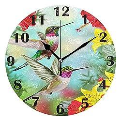 Pfrewn Spring Hummingbirds Birds Red Flower Wall Clock Silent Non Ticking Poppy Sunflower Daisy Roses Clocks Battery Operated Vintage Desk Clock 10 Inch Quartz Analog Quiet Bedroom