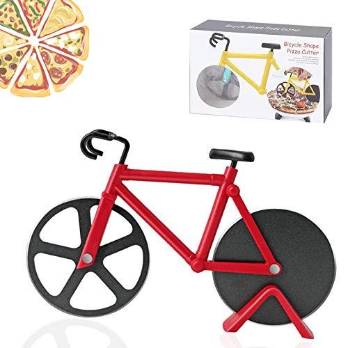 Bicicleta Cortador de Pizza, Antiadherente Cortapizzas con Revestimiento Antiadherente con Soporte ,apto para hogar y cocina (rojo)