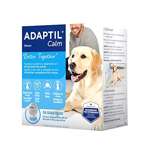 ADAPTIL Calm - Antiestrés para perros - Solo en casa, Miedos, Ruidos fuertes, Adopción - Difusor + Recambio 48ml ✅