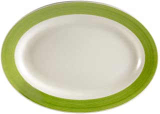 CAC China R-34-GREEN Rainbow Rolled Edge 9-3/8-Inch by 6-1/4-Inch Green Stoneware Oval Platter, Box of 24
