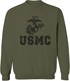 USMC Marine Corps Big Logo Black Seal United States of America USA American Men's Crewneck Sweatshirt
