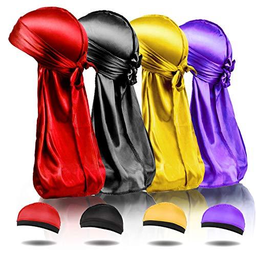BIGEDDIE 8Pcs Silky Durag Caps, Superior Silk Durags for Men Women, Elastic Wave Cap Long Tail Headwraps Wide Straps Waves(8 Pack, red, Black, Yellow, Purple)