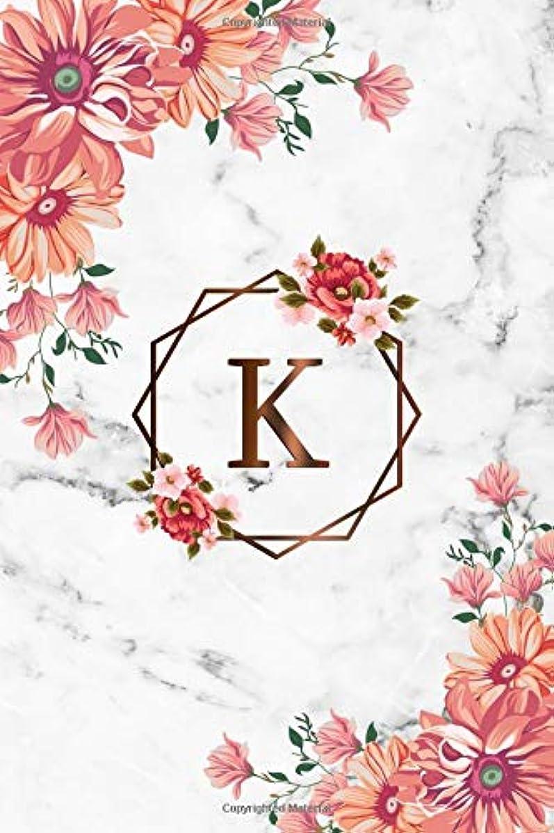 無数の内なる意味のあるK: Cute Initial Monogram Letter K Dot Grid Bullet Notebook. Pretty Personalized Journal & Diary with Dotted Grid Pages for Writing & Note Taking for Girls and Women - Nifty Grey Marble Floral Print