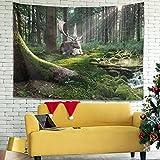 Wandlovers Tapiz de pared con diseño de ciervo, mágico, color...