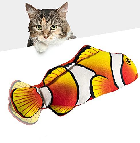 Huarumei Katzenspielzeug Fisch, USB Katzenspielzeug Elektrisch Fisch Katzen Spielsachen, Zappelnder Fisch mit Katzenminze für Katzen Interaktives Katzenspielzeug zu Spielen, Beißen, Kauen