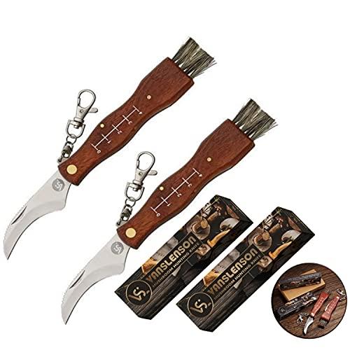 2 pcs Set Professional Folding Mushroom Hunting Knife Fungus Truffles Harvest Sharp Knives Natural Wood Handle Pocket Knife w/Bristle Brush