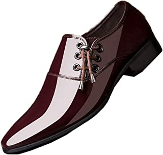 Scarpe Eleganti da Uomo Oxford Scarpe da Uomo in Pelle Verniciata Slip on Mocassini Piatti Scarpe Eleganti da Cerimonia a ...