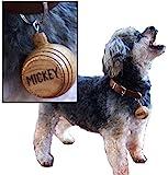 "THOUSAND OAKS BARREL | Personalized Saint Bernard Style Miniature Oak Barrel Dog Charm for Small Pets (1.5"" Inches), Custom Engraved Identification Tag"