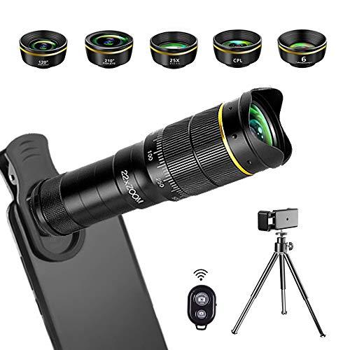 JONGSUN Handy Objektiv Kamera Linse Kit, 6 in 1 Universal 22x Zoom Teleobjektiv, Weitwinkelobjektiv, Fischaugenobjektiv, Makro-Objektiv, Polfilter, Kaleidoskoplinse, für iPhone Android Smartphone