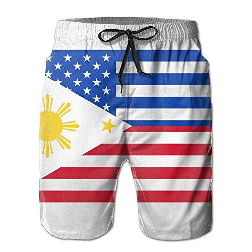 YELOFISH American Filipino Flag Men's Swim Trunks Beach Shorts Board Shorts White