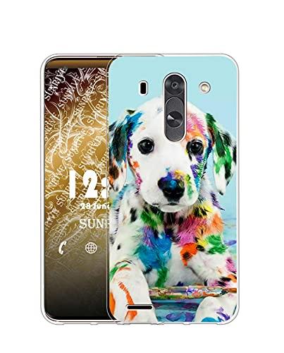 Sunrive Funda Compatible con LG G3 Mini, Silicona Slim Fit Gel Transparente Carcasa Case Bumper de Impactos y Anti-Arañazos Espalda Cover(Q Perro 2)
