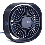2020 Upgraded Mini USB Desk Fan, Portable Fan with 3 Speeds Strong Wind and 360° Rotatable, Quiet Mini Table Fan for Sleep with baby, Reading, Work from home, Garden, Outdoor (Blue)