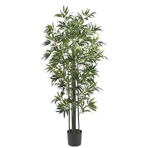 Nearly Natural Bamboo Silk, 6-Feet, Green Artificial Tree, 72″ x 9″ x 9″