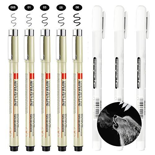 0.8 mm Precisa Penna di Gel a Punto Fine, 3 Pezzi Penna Bianca y 5 Pezzi Fineliner Penne per Artisti Scuri Carte da Disegno Forniture di Artistico