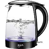 Electric Kettle,1.7L Glass Kettle, IKICH 1500W Fast Boiling Tea Kettel Hot Water Kettle