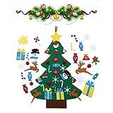 Viilich Árbol de Navidad de Fieltro, árbol de Navidad de Fieltro para la Pared de los niños, árbol de Navidad con 33 Piezas de Adornos Desmontables, Decoraciones de Navidad