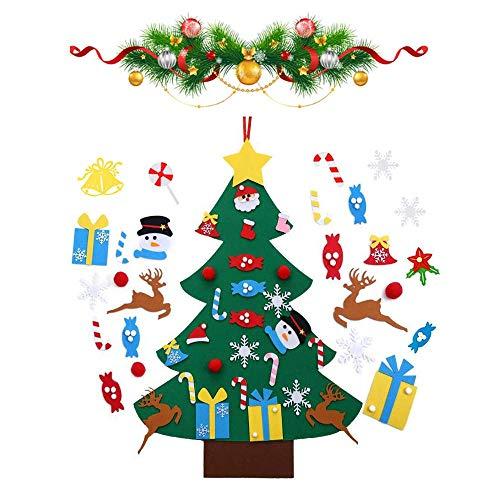 Viilich - Albero di Natale in feltro, albero di Natale per bambini da parete, fai da te con 33 decorazioni staccabili, da appendere alla porta, regalo di Natale per decorazioni natalizie