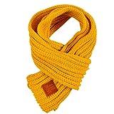 Demarkt Kinder Strickschal Winterschal Winter Warmer Stricken Schal Schlauchschal aus Wolle Gelb 100-135cm