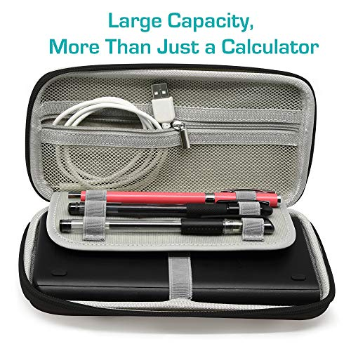 Surdarx Graphing Calculator Carrying Case for Graphing Calculator and More, Inside Mesh Pocket for USB Cables and Pencil, Pen, Stationary (Black) Photo #5